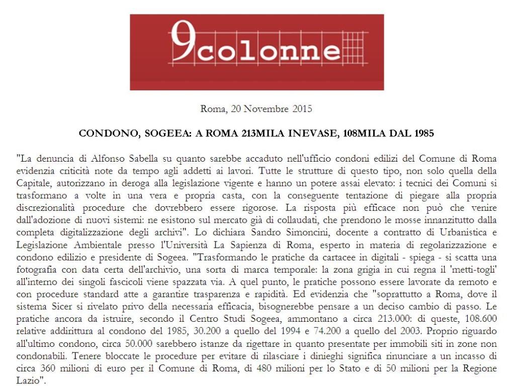 Condono Roma 9 colonne 20 novembre