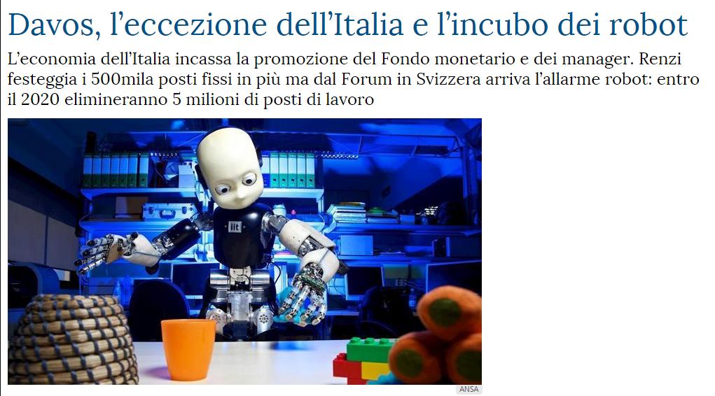 Davos, l'eccezione dell'Italia e l'incubo dei robot