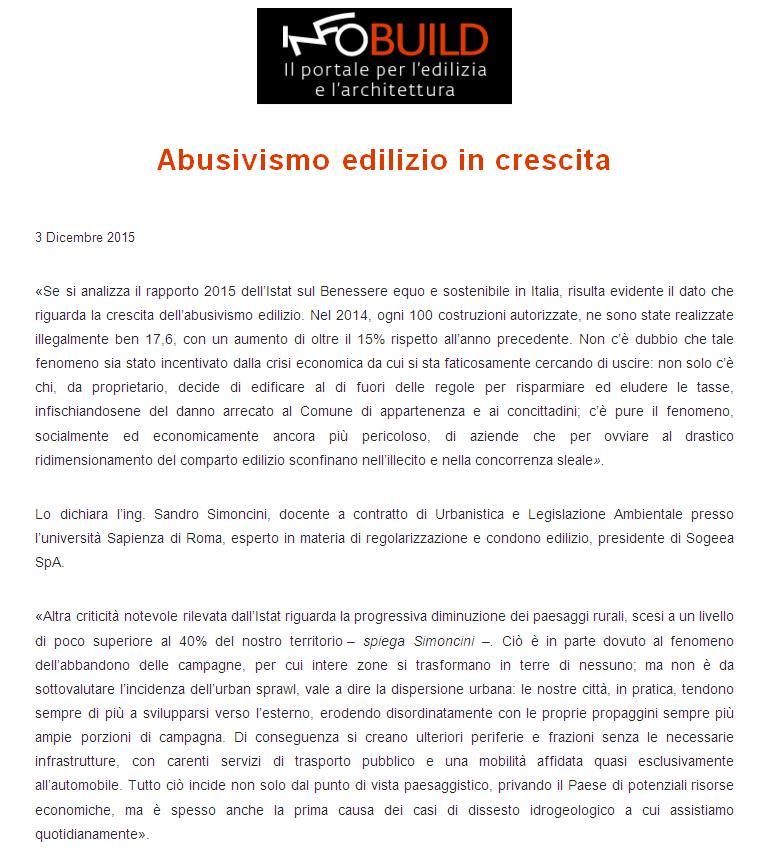 Infobuild abusivismo edilizio
