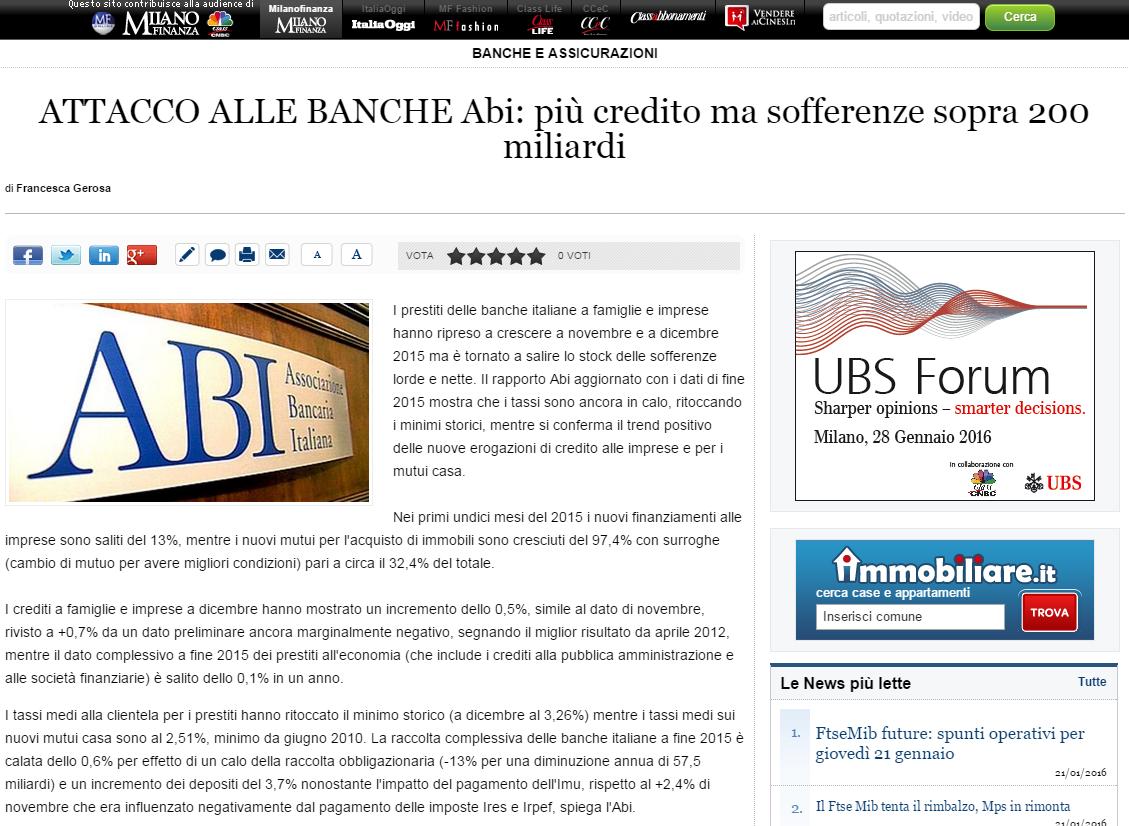 ABI, associazione bancaria italiana, banche, prestiti banca, mutui banca, mutui, BCE, immobili, acquisto immobili, Milano Finanza