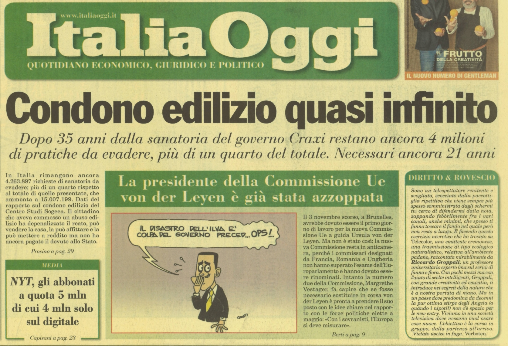 Italia Oggi - prima pagina 7.11.19
